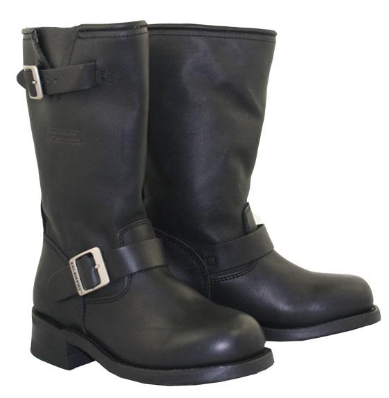 s engineer black leather biker motorcycle boots