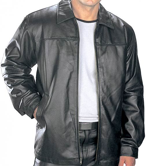 Men S Hip Length Black Classic Casual Leather Jacket