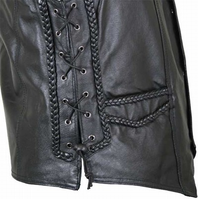 Mens Braided Side Lace Leather Motorcycle Vests