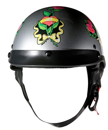 Dot Women S Motorcycle Half Helmet With Pink Roses