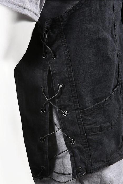 Mens Conceal Carry Black Denim Vest with Side Laces
