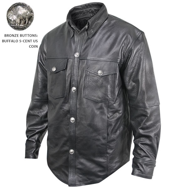 Men 39 s leather button shirt with pockets lining for Mens shirts with leather