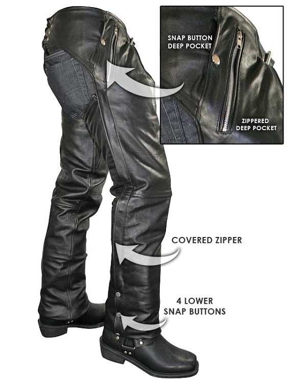Motorcycle Leather Chaps With Removable Insulated Liner