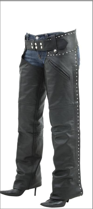 Womens Insulated Studded Leather Motorcycle Chaps