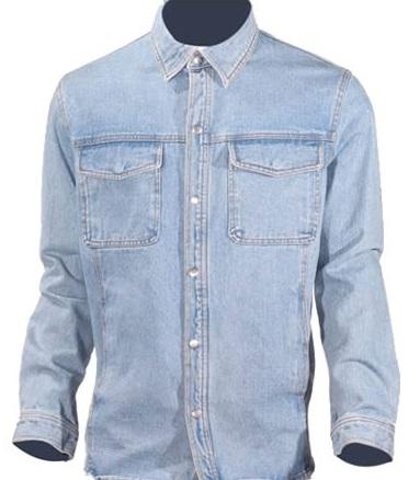 Mens Long Sleeve Blue Denim Shirt With Snaps