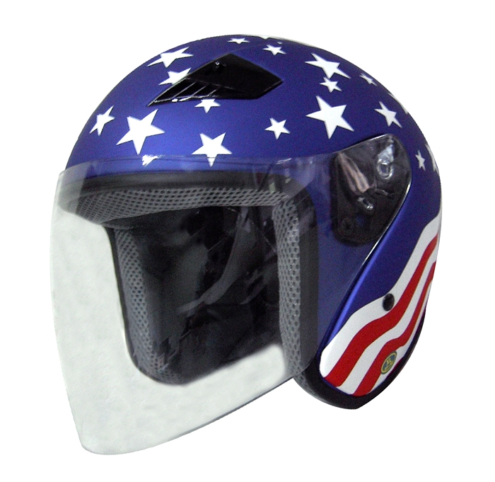 Dot Stars Amp Stripes Open Face Motorcycle Helmet