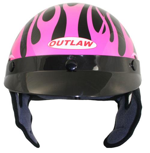 Dirt Bike Helmet With Visor >> Womens Pink Flames Motorcycle Half Helmet