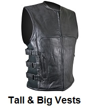 tall big leather vests