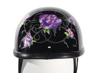 Womens Novelty Motorcycle Helmet With Purple Roses