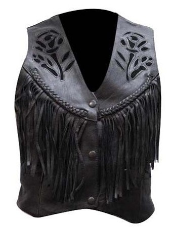 Womens Black Rose Fringe Leather Vest