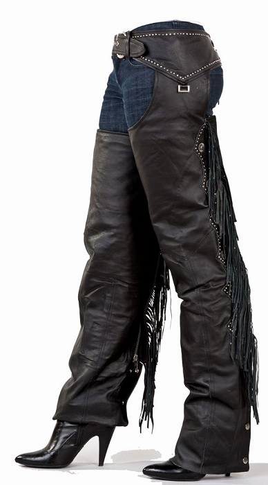 Womens Fringe Leather Chaps With Studs And Beads