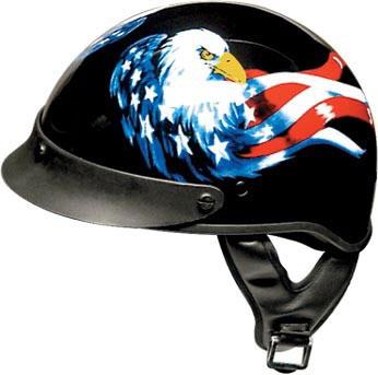 Dirt Bike Helmet With Visor >> DOT Motorcycle Half Helmet With American Flag & Eagle