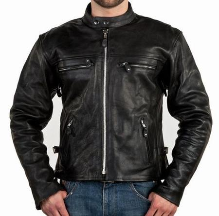 Men S Leather Motorcycle Jacket With Side Zippers