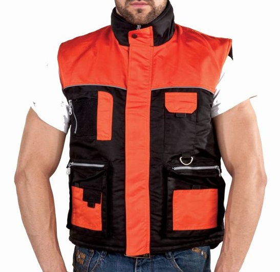 Mens Orange And Black Motorcycle Safety Vest