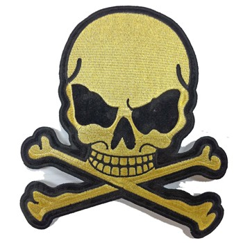 Small Gold Skull Crossbones Motorcycle Jacket Patch
