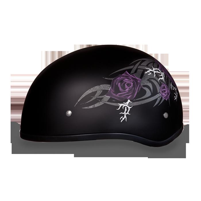 Dot Women S Purple Rose Motorcycle Half Helmet