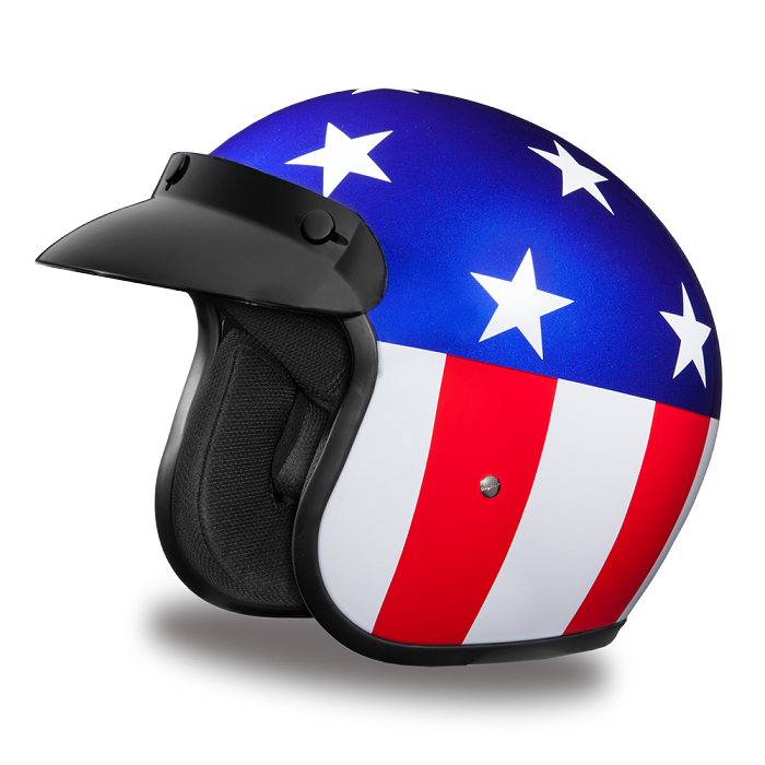 Snowmobile Helmets For Sale >> DOT Captain America 3/4 Open Face Motorcycle Helmet