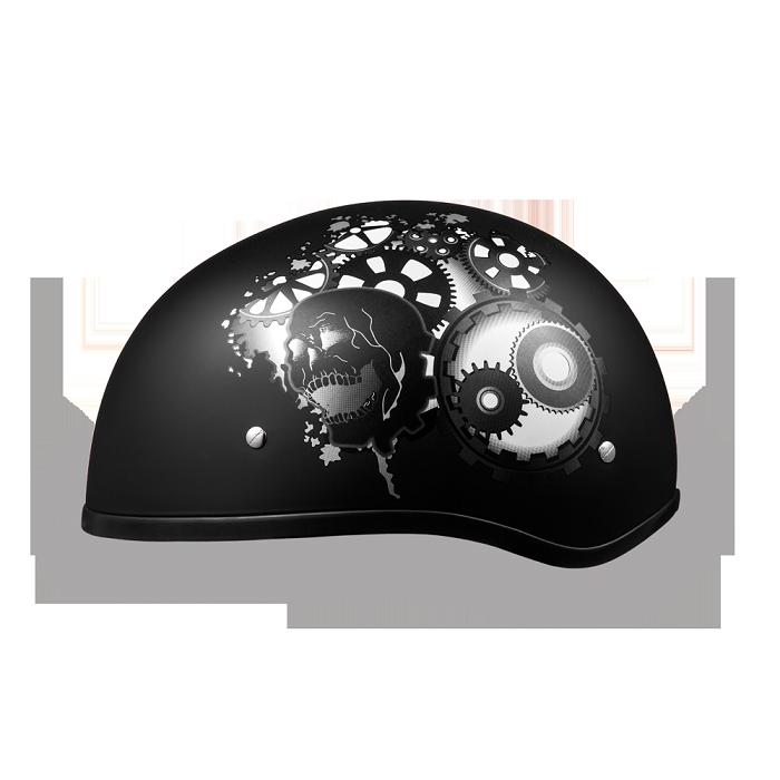 Dot Black Motorcycle Half Helmet With Gearhead