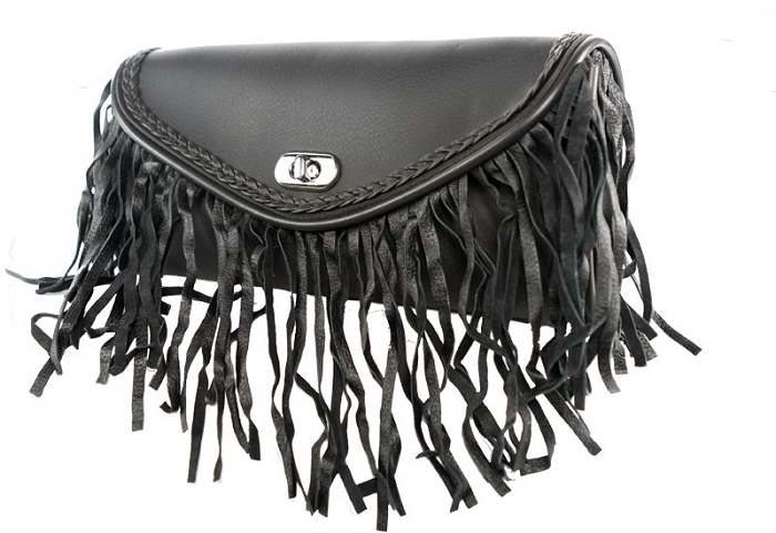 Leather Motorcycle Windshield Bag With Fringe