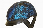 DOT Matte Blue Boneyard Motorcycle Half Helmet