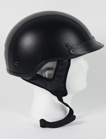 DOT Leather Motorcycle Half Helmet with Visor