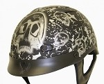 DOT Matte Gray Boneyard Motorcycle Half Helmet