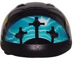 DOT Vented Blue Cross Christian Motorcycle Half Helmet