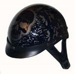 DOT Black Boneyard Motorcycle Half Helmet