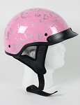 DOT Women's Pink Boneyard Motorcycle Half Helmet