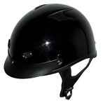 DOT Vented Gloss Black Motorcycle Half Helmet