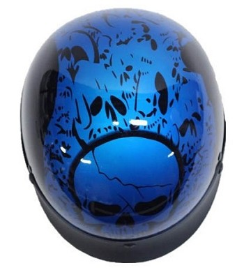 DOT Blue Boneyard Motorcycle Half Helmet with Visor