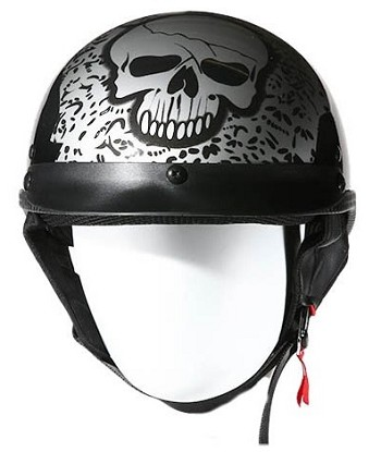 DOT Silver Boneyard Motorcycle Half Helmet with Visor