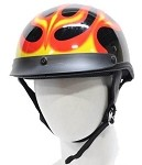DOT Motorcycle Half Helmet With Flames and Visor