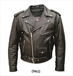 Big Men's Classic Tall Leather Motorcycle Jacket