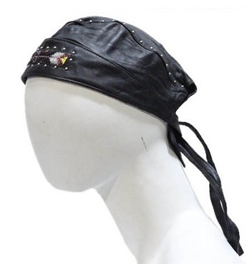 Biker Skull Cap with Studs and Beads