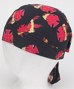 Motorcycle Skull Cap with Chopper Cross and Flames