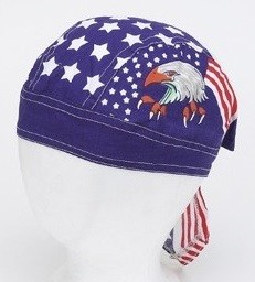 Motorcycle Skull Cap with Eagle Stars and Stripes