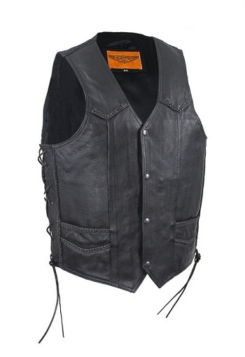 Mens Braid Leather Vest with Gun Pockets