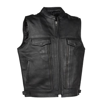 Mens Heavy Duty Leather Vest With Gun Pocket