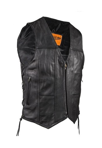 Men's Leather Vest With Front Zipper and Gun Pocket