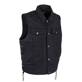Mens Plain Denim Vest With Multiple Pockets