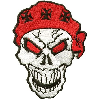 Small Skull with Red Bandana and Black Iron Cross Patch