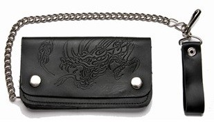 Leather Chain Wallet With a Dragon