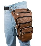 Gun Pocket Brown Leather Thigh Bag