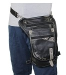 Black Distressed Brown Gun Pocket Leather Thigh Bag