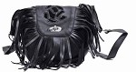 Womens Black Inlay Rose Purse with Fringe