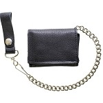 Plain Black Biker Tri-Fold Chain Wallet