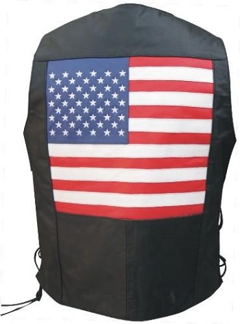 Men's Side Laced Leather Vest with USA Flag