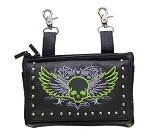 Womens Leather Hip Bag Purse Studded Lime Green Skull