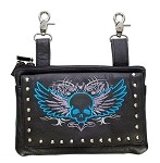 Womens Studded Leather Hip Bag Purse Blue Skull